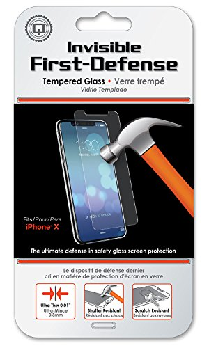 Apple iPhone X Screen Protector - Qmadix Invisible First-Defense Tempered Glass - 9H Hardness and Case Friendly for The iPhone X (iPhone 10) 2017 Model