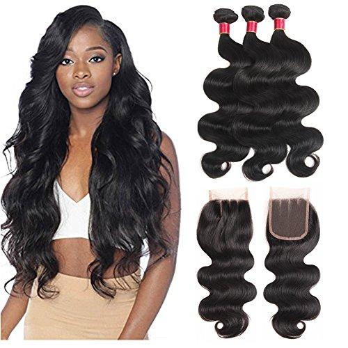 Fine Plus Brazilian Virgin Hair Bundle Deals with Lace Closure 22 24 26 +  18 100 0903c864f431