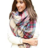 ABC® Women Scarf, Plaid Cozy Checked Scarf Women Lady Blanket Oversized Tartan Wrap Shawl