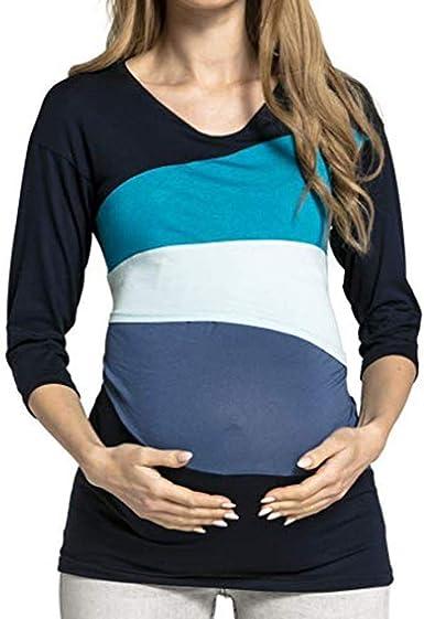 Camiseta De Manga Corta para Mujeres Que Amamantan Remiendo Vintage De Rayas Camisa De Lactancia Ropa De Maternidad Blusa De Doble Capa Camiseta De Lactancia Bebé Maternidad Pare Maternidad Camisa De: Amazon.es: