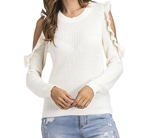 Chandail Col Blouse Casual Longues Shirts Chemisiers Femme Sweater Automne et Blanc Pulls Couleur Tricots Nu Hauts Printemps Unie Mode Epaule Manches Tops Rond Jumper pYvqwB