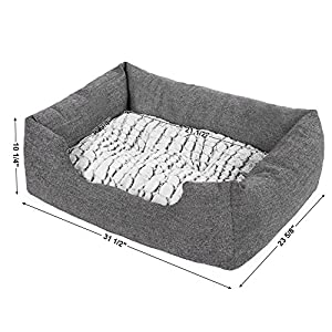 SONGMICS Delux Dog Bed Pet Nest Reversible Mat PV Plush Lining Washable Pooch Lounging Snoozing Grey UPGW26G