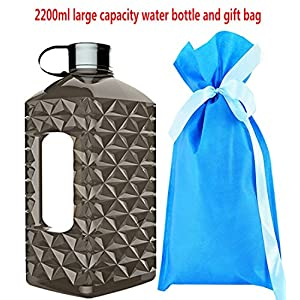 2.2 Litre(74OZ) Sport Water Bottle -Drinking Bottle- Portable Diamond Lattice Water Jug Durable & Extra Strong - BPA Free(Black)…