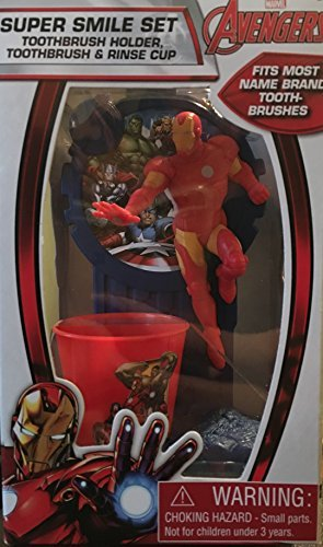 Marvel Avengers Ironman Super Smile Set - Toothbrush Holder, Toothbrush and Rinse Cup by Marvel
