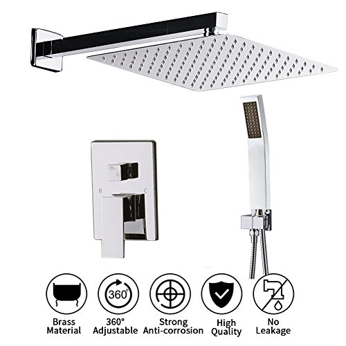 Shower System with 12 inch Shower Head and Handheld Complete Set, Shower Faucet Rough-in Mixer Valve and Trim Included Modern Rainfall Shower Sets for Bathroom, Chrome ()