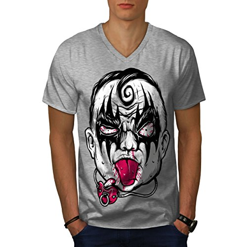 wellcoda Clown Baby Scary Horror Mens V-Neck T-Shirt, Angry Graphic Print Tee Grey M]()