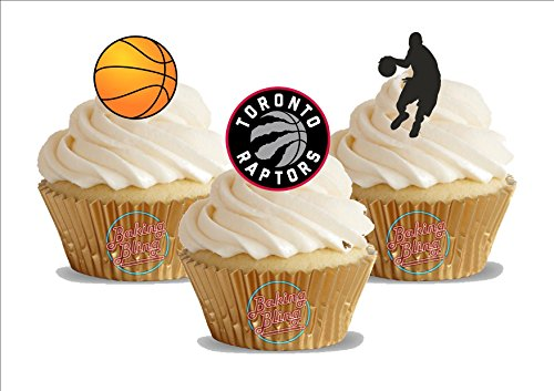 - 12 x Basketball Toronto Raptors Mix - Fun Novelty Birthday PREMIUM STAND UP Edible Wafer Card Cake Toppers Decoration