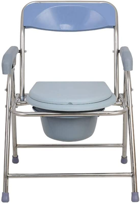 XZ 高齢者、妊婦、身体の不自由な人、灰色の群集のためのベッドサイド、トイレ、ポータブルステンレス製のトイレチェア折りたたみ、 浴室の安全性 (Color : A)