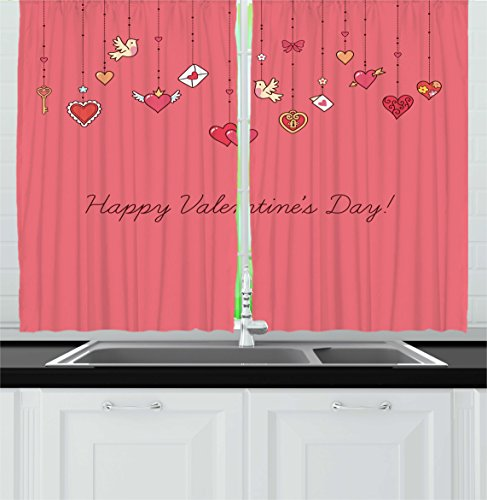 Valentines Day Decor Kitchen Curtains by Ambesonne, Happy Valetines Day Print with Birds Hearts Letters and Keys Print, Window Drapes 2 Panels Set for Kitchen Cafe, 55W X 39L Inches, Pink and Red