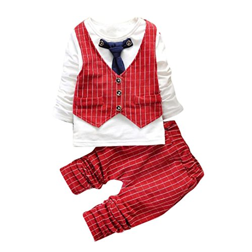(DaySeventh Boys Handsome Outfit Clothes Checked Vest Tie Shirt Long Tops Pants 1Set (1 Years, Red))