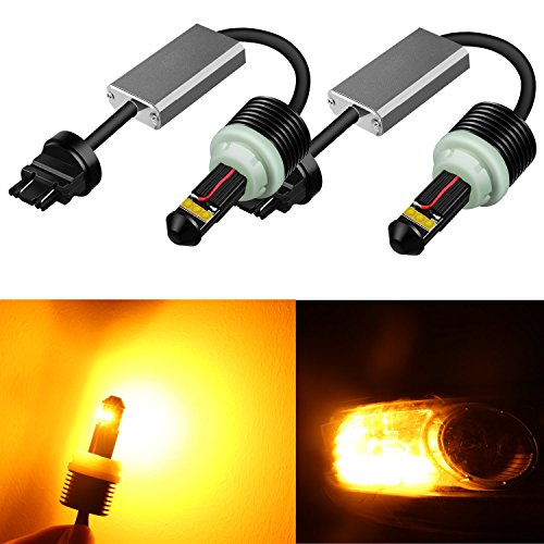 Alla Lighting 21W 1300 Lumens CREE Extremely Super Bright Yellow 3157 3156 3057 3457NA 4157NA 3056 T25 LED Bulbs for Turn Signal Blinker Light Lamps Replacement