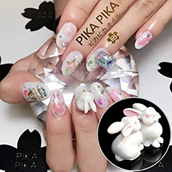 Amazon 2pcs Hot In Japan White Rabbit Nail Art Decoration