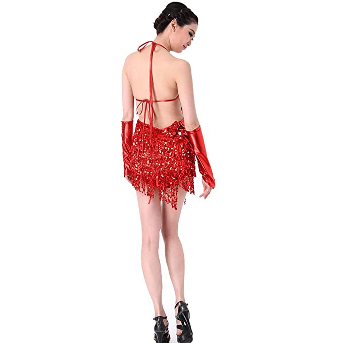 Blingstory Two Pieces Sparkling Fringe Salsa Skating Ballroom Tassel Sequins Latin Dance Dress (Red, One Size) at Amazon Womens Clothing store: