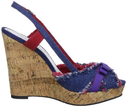 Mujer De Lona Ed911 Zapatos Para Cafènoir 367 Azul Tacón Blau nq4BCx