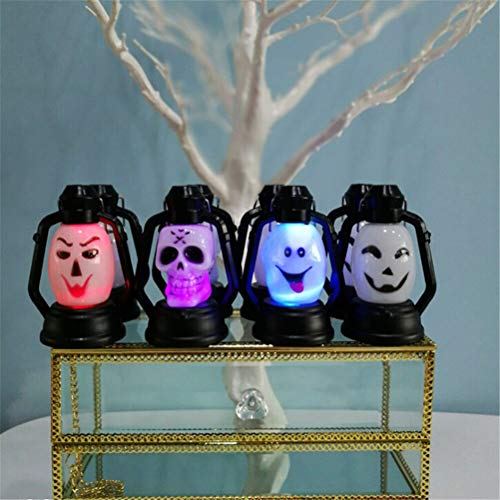 BIN BON - Halloween Decor Party Accessories Portable Lantern Night light Pumpkin Skull Witch Ghost Horrible Hanging LED Lamp ()
