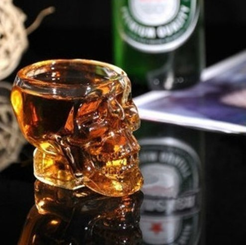 UChic 1PCS Creative Transparent Skull Glass Creative Skull Cup Vodka Spirits Cup Glass New Crystal Skull Cup Home Drinking Ware Man (Simple Halloween Cocktails With Vodka)