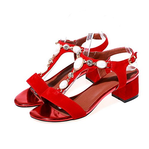 Heels Sandals Open Kitten Buckle Frosted AllhqFashion Red Womens Toe Solid wROY41q