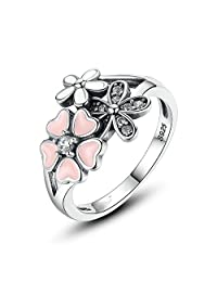PAHALA 925 Sterling Silver Pink Cherry Crystal Cubic Zirconia Pave Wedding Engagement Band Ring