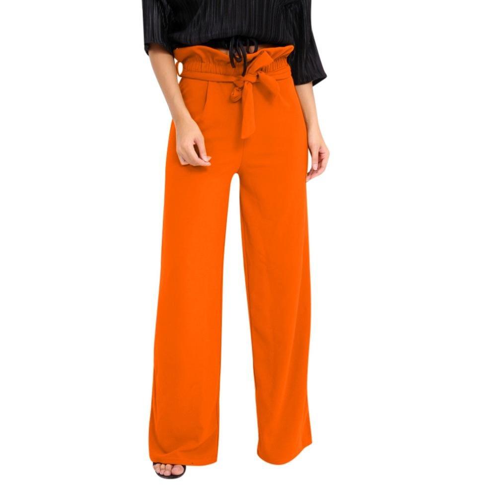 vermers Clearance Sale Summer Women Pants High Waist Speaker Wide Leg Straps Lotus Leaf Trousers(L, Orange)