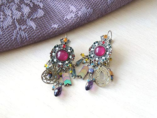 Stunning Purple Antique Dangle Earrings Sparkling Hanging Earrings, Earrings special occasion, Long Hanging earrings, Designer Earrings
