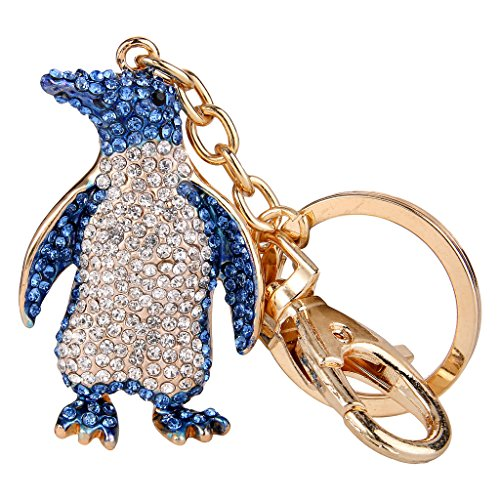EVER FAITH Women's Austrian Crystal Lovely Penguin Animal Keychain Blue (Penguin Gift Box)