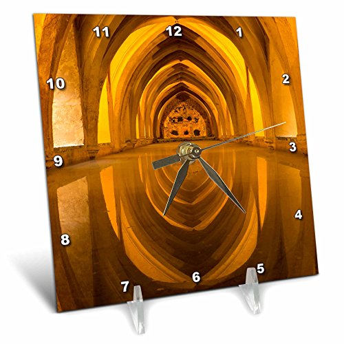 3dRose Danita Delimont - Architecture - Spain, Andalusia, Seville, Alcazar. Repeating arches of the baths - 6x6 Desk Clock (dc_277898_1) by 3dRose