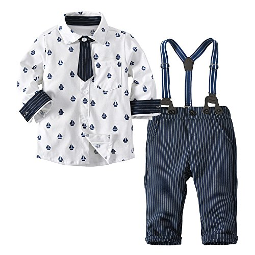 (XUANOU Two Piece Suit Kids Long Sleeve Printed Lining + Striped Bib Pants Gentleman Toddler Boys Bowtie T-Shirt Jumpsuit)