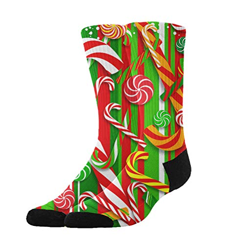 Jinkela Unisex Sweet Candy Cane Graphic Novelty Funny Crazy 3D Print Casual Long Crew Tube Socks