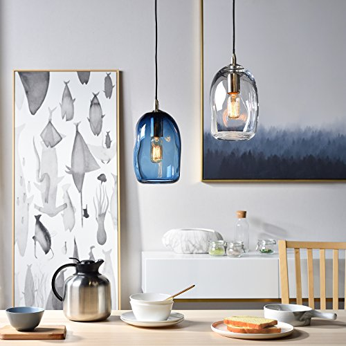 Casamotion Pendant Lighting Handblown Glass Drop ceiling lights, Organic Contemporary Style Hanging Light, Grey Blue Glass Shade, Brushed Nickel Finish, 1 Light by CASAMOTION (Image #8)'