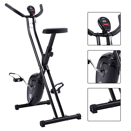 Gymax Folding Cardio Fitness Upright Exercise Bike X Shape Magnetic Stationary Cycling Bike (Black)