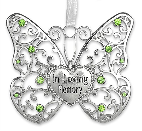 Filigree Christmas Cards - BANBERRY DESIGNS in Loving Memory Ornament - Rememberance Silver Filigree Butterfly with Engraved Heart - Light Green Crystals with White Ribbon to Hang - Bereavement Gifts - Sympathy Gifts