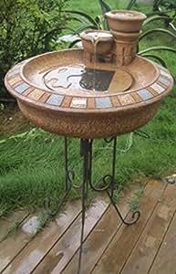 "31"" Solar Powered Rustic Terracotta Outdoor Garden Water Fountain"