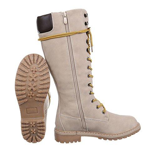 cordones mujer beige Botas Botas PG Design ancho 067H para Tac—n de Ital Zapatos W0p45wcqfn