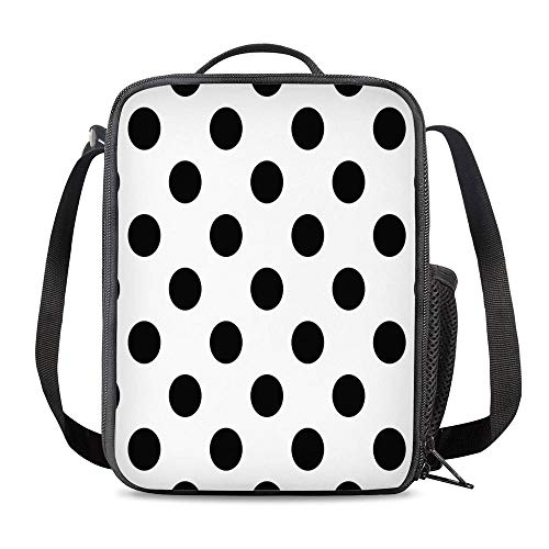 KiuLoam Black White Polka Dote Small Lunch Box Insulated Lunch Bag with Zipper Shoulder Strap Cooler Lunch Tote for Boys Girl Preschool Office Picnic