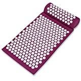 Acupressure Mat and Pillow Set with Carry Bag Acupuncture Pad for Back or Neck Sciatic Pain Linen Cotton Massage Mat for Stress Relief Blue/Purple (Purple)