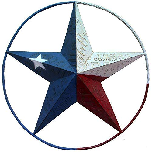 Outdoor Estrella Hanging (Texas Flag Painted Metal Star Wall Hanging Home Decor Rustic Western)