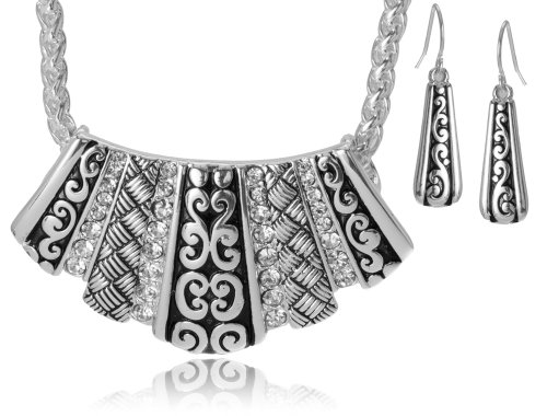 Jewelry Nexus Designer Textured Crystal Pendant Necklace Set with Earrings