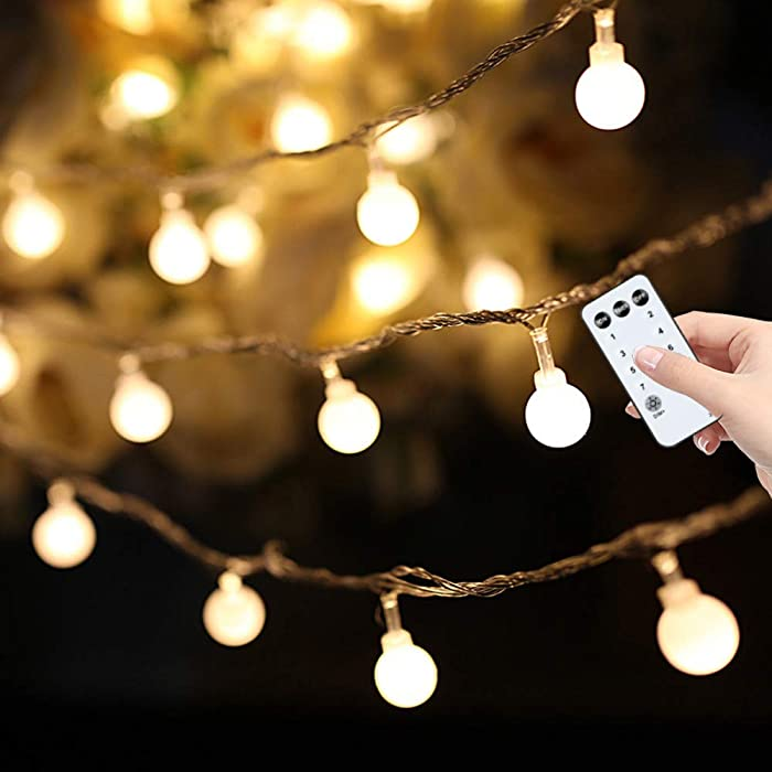 59ft 100 LED Globe String Lights, Extendable Waterproof Fairy String Lights wite Remote and Timer, Wall Patio Home Decor for Indoor Outdoor Wedding Birthday Party Garden Christmas Tree (Warm White)