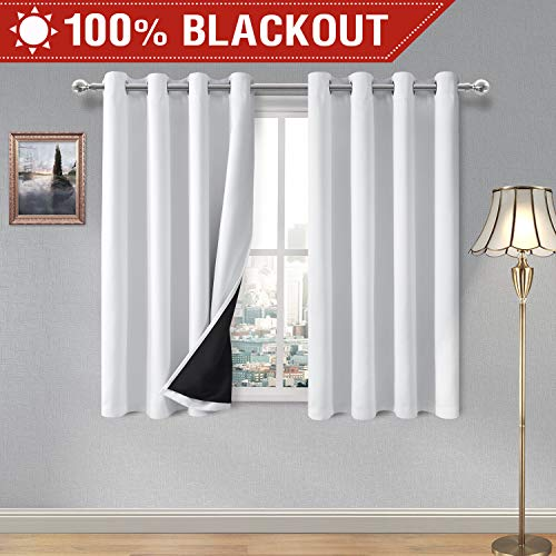 DWCN 100% White Blackout Curtains - Thermal Insulated, Energy Saving & Noise Reducing Bedroom and Living Room Lined Curtains, W 52 x L 54 Inch, Set of 2 Grommet Curtain Panels