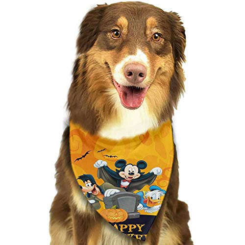 Custom Made Dog Bandanas,Reversible Plaid Printing Kerchief for Dogs and Cats-Donald Goofy Happy Halloween Mickey Pattern Printing Colorful]()