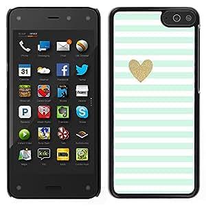 LECELL--Funda protectora / Cubierta / Piel For Amazon Fire Phone -- Hoja Corazón minimalista Limpio Rayas --