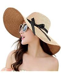 5ff2e6a4 Womens Straw Hat Wide Brim Floppy Beach Cap Adjustable Sun Hat for Women  UPF 50+