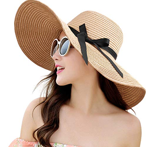 (Womens Straw Hat Wide Brim Floppy Beach Cap Adjustable Sun Hat for Women UPF 50+ (Bowknot&Khaki))