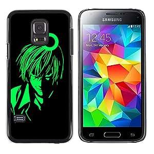 QCASE / Samsung Galaxy S5 Mini, SM-G800, NOT S5 REGULAR! / verde hombre animado arte carácter muchacho de la historieta / Delgado Negro Plástico caso cubierta Shell Armor Funda Case Cover