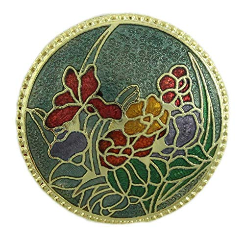 Lilylin Designs Round Dark Green Cloisonne Field of Flowers Brooch Pin