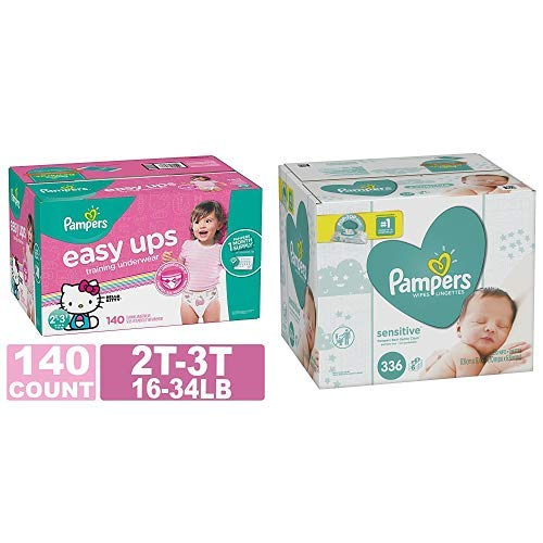 Pampers Easy Ups Training Pants Pull On Disposable Diapers for Girls, Size 4 (2T-3T), 140  Count, ONE MONTH SUPPLY with Baby Wipes Sensitive 6X Pop-Top Packs, 336 Count