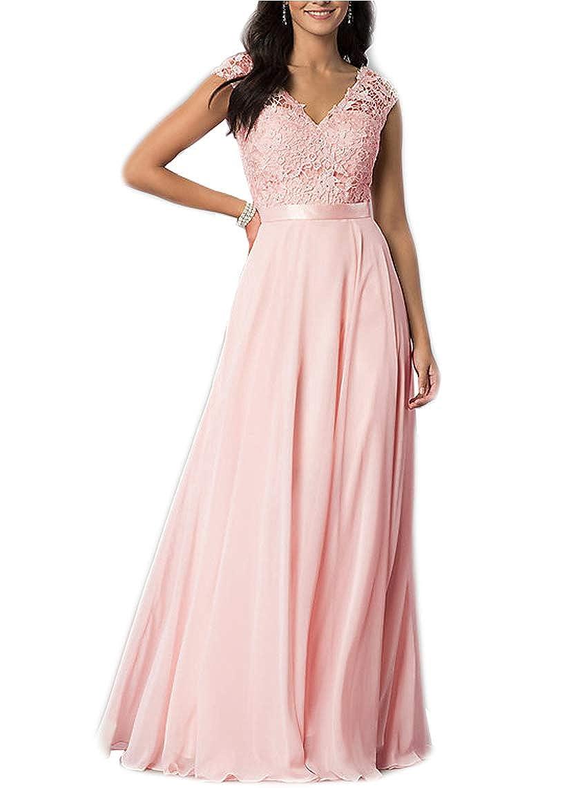 bluesh liangjinsmkj Cap Sleeve VNeck Prom Dress Lace FloorLength Bridesmaid Dresses for Women