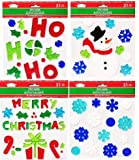Assortment of Christmas Gel Clings! Includes (4) Sheets, Including a Snowman, Merry Christmas, Ho Ho Ho, a Present, Candy Canes, Jolly Leaves, and a Variety of Snowflakes