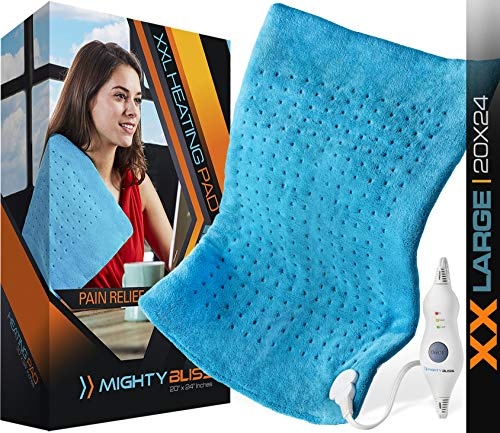 "MIGHTY BLISSTM XXLarge Electric Heating Pad for Back Pain and Cramps Relief -Extra Large [20""x24""] - Auto Shut Off - Heat Pad with Moist & Dry Heat Therapy Options - Hot Heated Pad"
