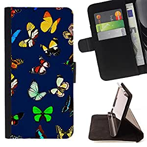 - Blue Floral Butterfly Spring Easter - Estilo PU billetera de cuero del soporte del tir???¡¯????n [solapa de cierre] Cubierta- For Samsung Galaxy S6 £¨ Devil Case £©